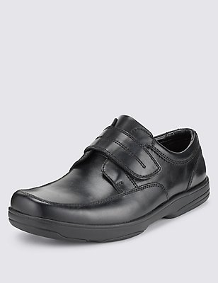 Extra Wide Fit Leather Shoes with Airflex™, BLACK, catlanding