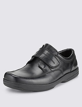 Black Airflex™ Leather Extra Wide Fit Riptape Shoes