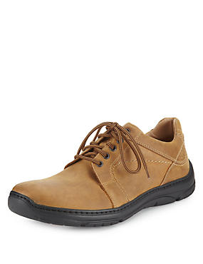 Tan Airflex™ Leather Extra Wide Fit Lace Up Shoes