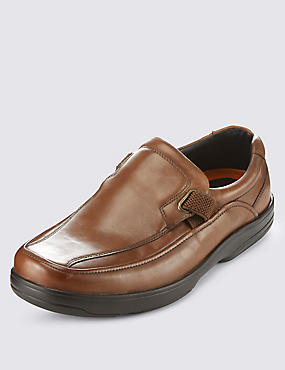 Airflex™ Leather Extra Wide Fit Slip-On Shoes, BROWN, catlanding