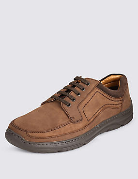 Extra Wide Fit Leather Shoes with Airflex™, BROWN, catlanding