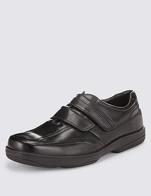 Airflex™ Leather Double Strap Slip-On Trainers, BLACK, catlanding