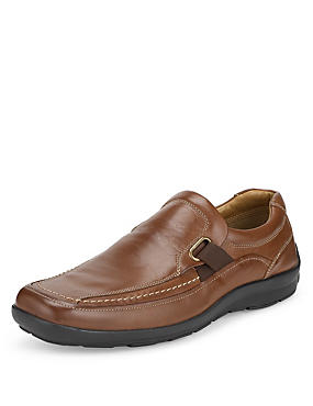 Tan Airflex™ Leather Stitched Slip-On Shoes