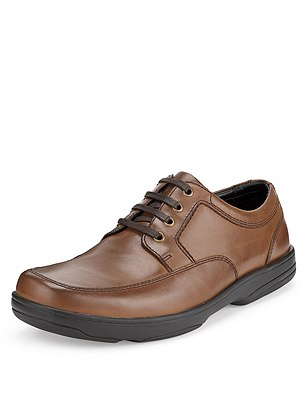 Big & Tall Airflex™ Leather Extra Wide Fit Lace Up Shoes, TAN, catlanding