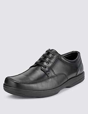 Big & Tall Extra Wide Fit Leather Shoes , BLACK, catlanding