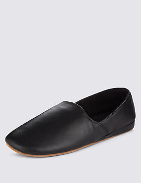 Leather Full Cut Slippers, BLACK, catlanding