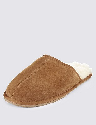 Suede Shearling Mule Slippers, TAN, catlanding