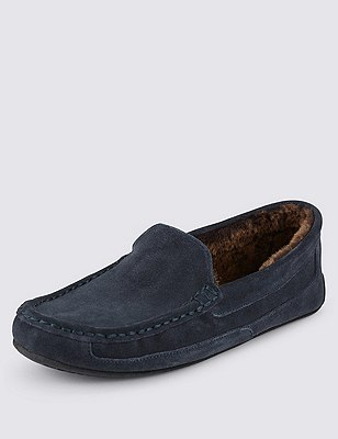 Big & Tall Freshfeet™ Suede Wide Leg Moccasin Slippers with Silver Technology, GREY, catlanding