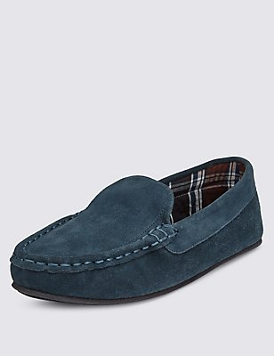 Suede Moccasin Slippers with Thinsulate™, BLUE, catlanding