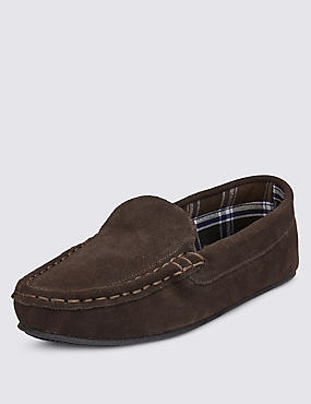 Suede Moccasin Slippers with Thinsulate™, CHOCOLATE, catlanding