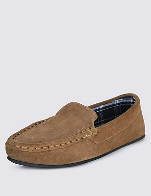 Freshfeet™ Suede Moccasins with Thinsulate™, TAN, catlanding