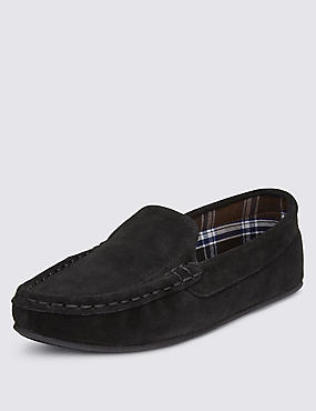 Freshfeet™ Suede Moccasins with Thinsulate™, BLACK, catlanding