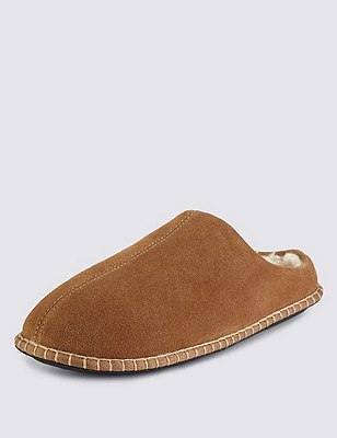 Freshfeet™ Suede Stitched Mule Slippers with Thinsulate™, TAN, catlanding