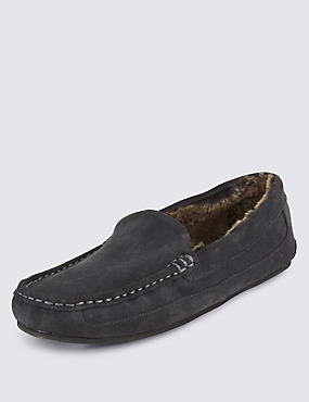 Suede Moccasin Slippers with Thinsulate™, GREY, catlanding