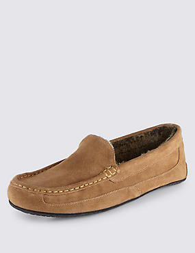 Suede Moccasin Slippers with Thinsulate™, TAN, catlanding