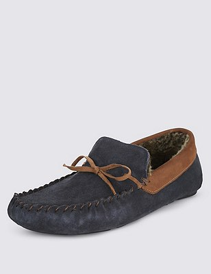 Suede Lace Up Moccasin Slippers with Thinsulate™  , NAVY MIX, catlanding