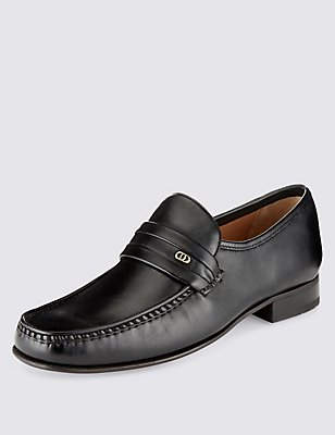 Leather Trim Loafers, BLACK, catlanding