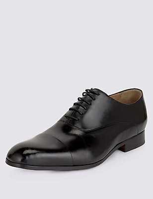 Extra Wide Fit Leather Lace-up Shoes, BLACK, catlanding