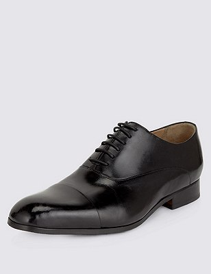 Leather Extra Wide Fit Lace Up Shoes, BLACK, catlanding