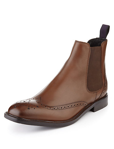 Leather Chelsea Brogue Boots Clothing