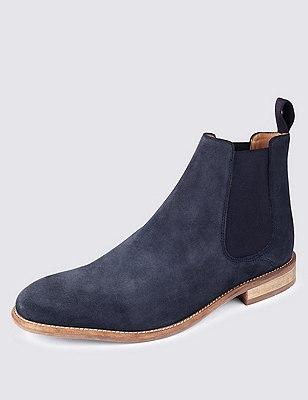 Suede Chelsea Boots, NAVY, catlanding