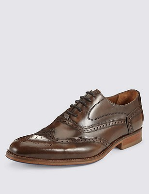 Leather Layered Sole Brogue Shoes, BROWN HIGH SHINE, catlanding