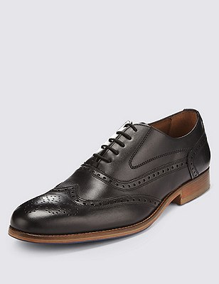 Leather Layered Sole Brogue Shoes, BLACK, catlanding