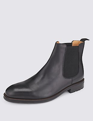 Leather Elastic Chelsea Boots, BLACK, catlanding