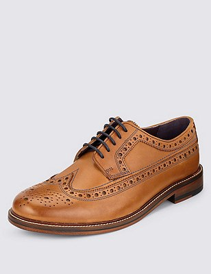 Leather Lace Up Heritage Brogue Shoes, TAN, catlanding