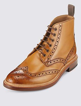 Bottes style Richelieux en cuir, HAVANE, catlanding