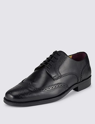 Big & Tall Leather Lace Up Brogue Derby, BLACK, catlanding
