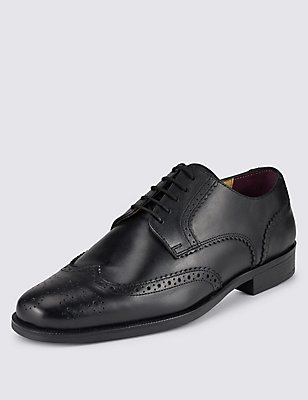Leather Brogue Shoes , BLACK, catlanding