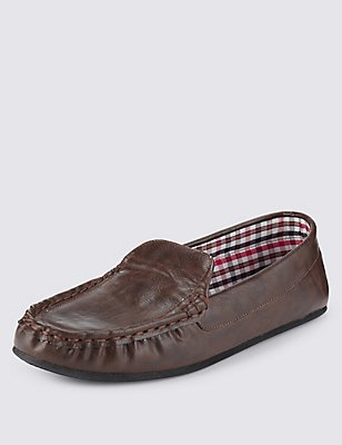 Moccasin Slippers with Thinsulate™, BROWN, catlanding