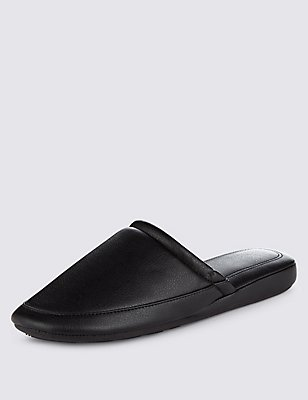 Faux Leather Mule Slippers, BLACK, catlanding