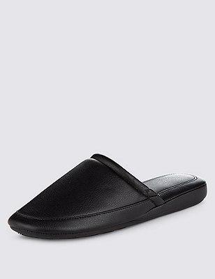 Faux Leather Mule Slippers, BLACK, catlanding