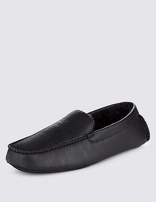 Faux Leather Slip-On Slippers, BLACK, catlanding