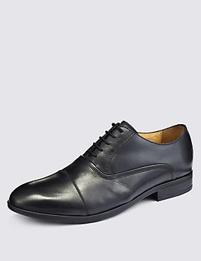 Big & Tall Leather Lace-up Shoes , BLACK, catlanding