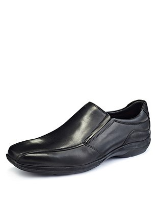 Airflex™ Leather Slip-On Shoes, BLACK, catlanding