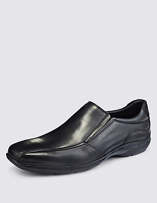 Leather Slip-on Shoes with Airflex™, BLACK, catlanding