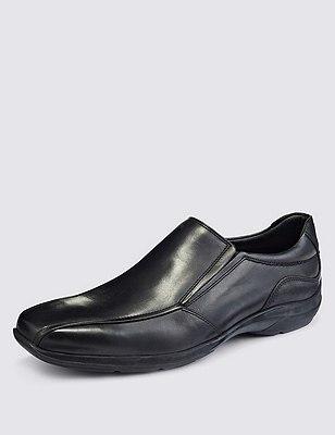 Airflex™ Leather Slip-On Shoes, BLACK, catlanding