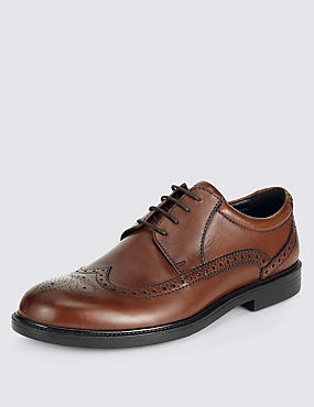 Extra Wide Leather Brogues with Airflex™, TAN, catlanding