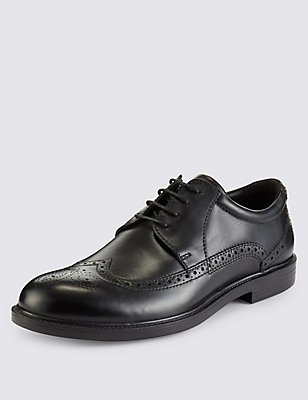 Extra Wide Leather Brogues with Airflex™, BLACK, catlanding