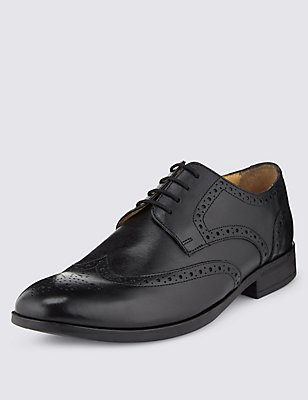 Leather Brogue Shoes with Airflex™, BLACK, catlanding