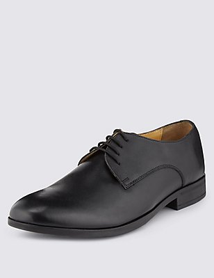 Leather Lace-up Derby Shoes with Airflex™, BLACK, catlanding