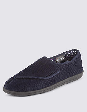 Riptape Corduroy Slippers with Thinsulate™, NAVY, catlanding