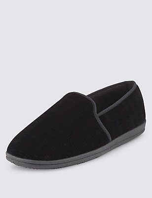 Checked Slippers with Thinsulate™, BLACK, catlanding