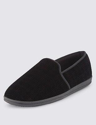 Thinsulate™ Freshfeet™ Window Pane Checked Slippers, BLACK, catlanding