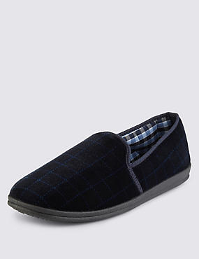 Checked Slippers with Thinsulate™, NAVY, catlanding