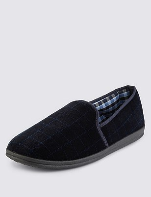 Window Pane Checked Slippers with Thinsulate™, NAVY, catlanding