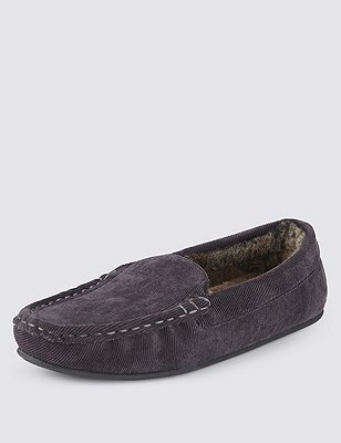 Freshfeet™ Corduroy Moccasin Slippers with Thinsulate™, GREY, catlanding